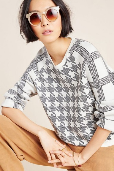 ANTHROPOLOGIE Shaz Plaid Sweatshirt in Black and White / checked sweat top
