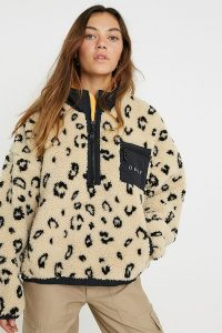 OBEY Chiller Leopard Print Fleece Pullover Anorak Jacket in Beige