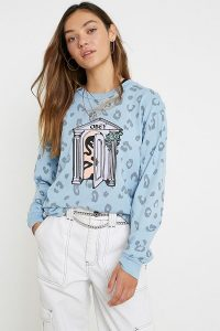 OBEY Mausoleum Long-Sleeve T-Shirt in Blue / logo print tee