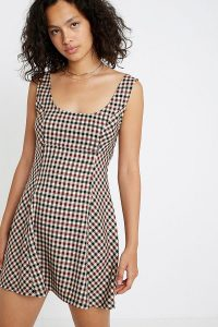 Urban Renewal Inspired By Vintage Bernece Brown Checked Dress in Brown
