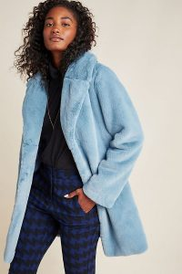 ANTHROPOLOGIE Cordelia Faux-Fur Coat in Sky / fluffy blue coats