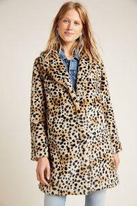 ANTHROPOLOGIE Cheetah Faux-Fur Coat Brown Motif