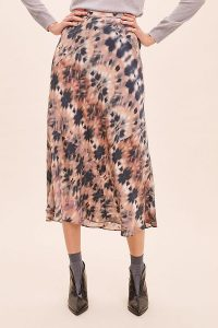 Kachel Tie Dye-Print Silk Skirt in Rose