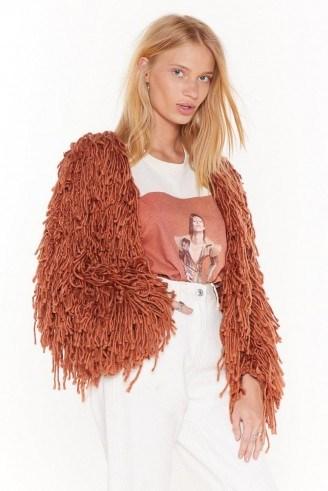 NASTY GAL Bad Romance Shaggy Cardigan in Mocha - flipped