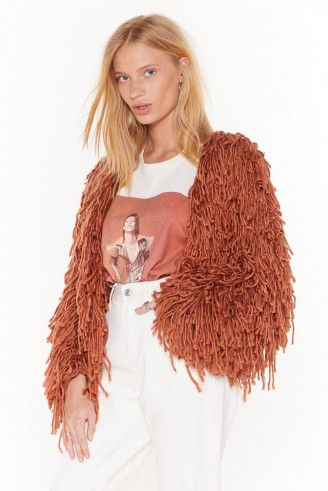 NASTY GAL Bad Romance Shaggy Cardigan in Mocha