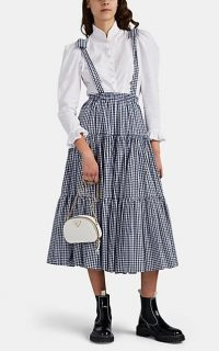 BATSHEVA Amy White and Navy Gingham Cotton Tiered Skirtall