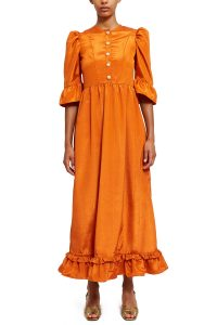 BATSHEVA BUTTON-UP LONG PRAIRIE DRESS ORANGE MOIRE