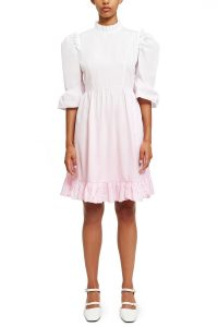 BATSHEVA DIP-DYE SHORT PRAIRIE DRESS WHITE / PINK