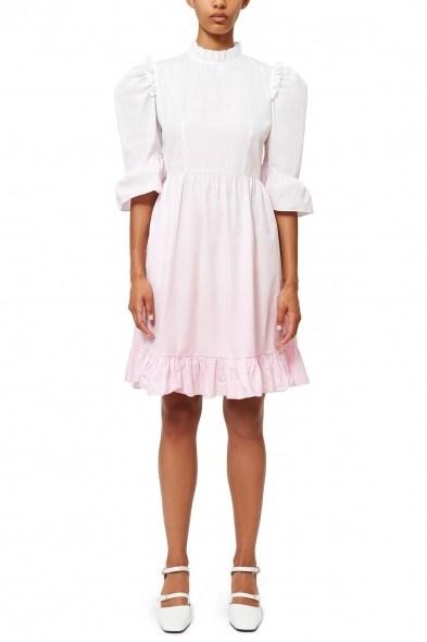 BATSHEVA DIP-DYE SHORT PRAIRIE DRESS WHITE / PINK - flipped