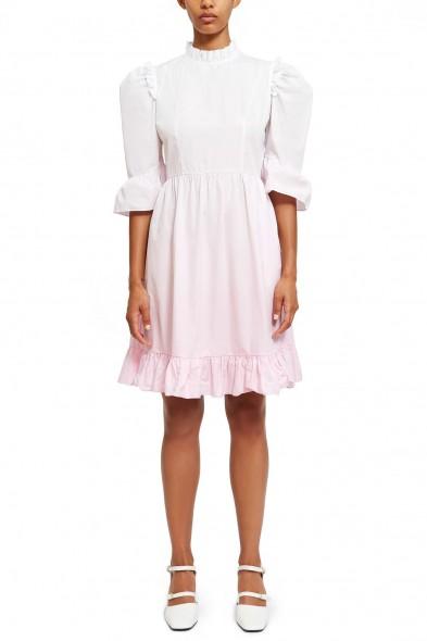 BATSHEVA DIP-DYE SHORT PRAIRIE DRESS WHITE / PINK