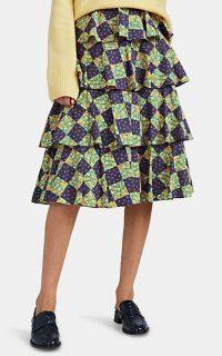 BATSHEVA Floral Cotton Tiered Skirt