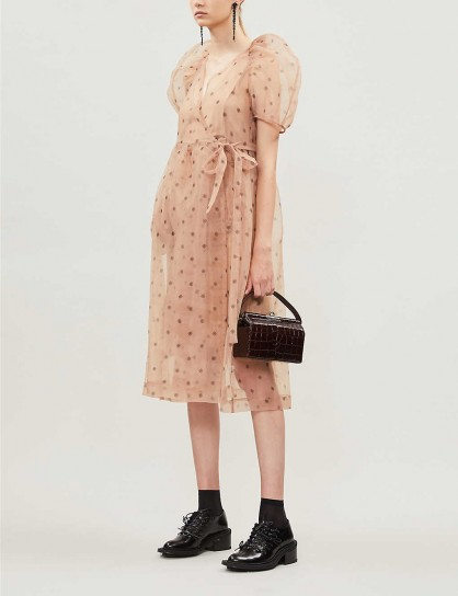 BAUM UND PFERDGARTEN Adelaide sheer organza midi dress in peach flower / puff sleeved / wrap over style