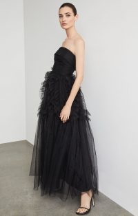 BCBG Trapless Ruffle-Trimmed Long Gown