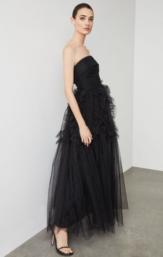 BCBG Trapless Ruffle-Trimmed Long Gown - flipped