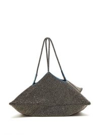THE ROW Beaded geometric clutch in silver / shimmering evening bag