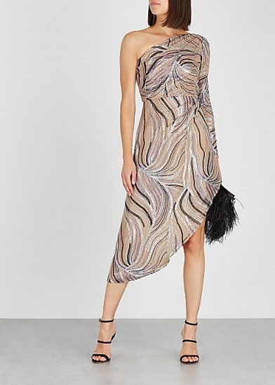 BEAU SOUCI One-shoulder sequinned tulle dress