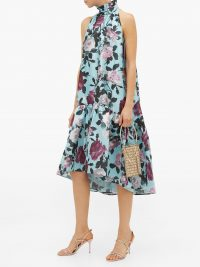 ERDEM Belita high-neck floral-print taffeta dress ~ romantic style event wear