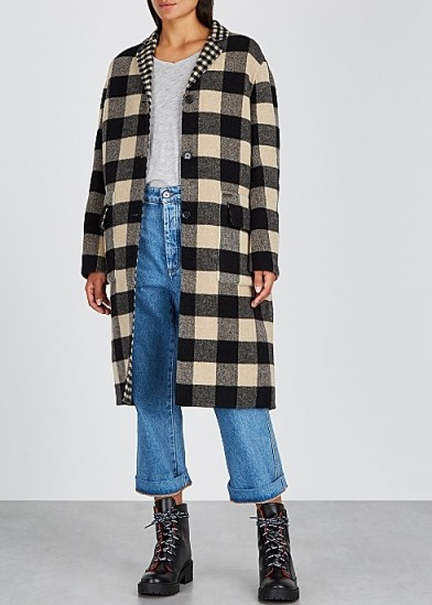 BELSTAFF Rona reversible checked wool-blend coat in black and cream