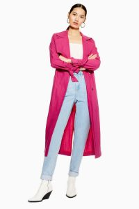 TOPSHOP Belted Duster Coat in Bright Pink