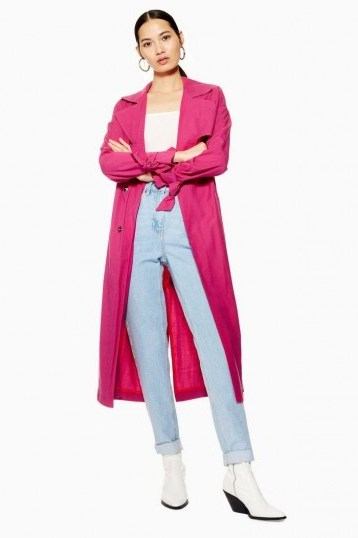 TOPSHOP Belted Duster Coat in Bright Pink - flipped