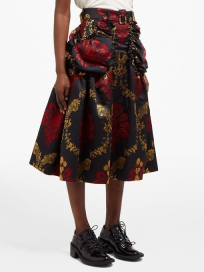 SIMONE ROCHA Belted floral-brocade midi skirt in black / luxe skirts