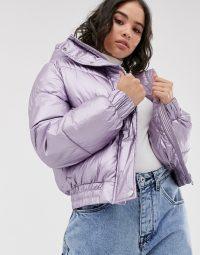 Bershka puffer jacket with hood in metallic lilac / shiny jackets