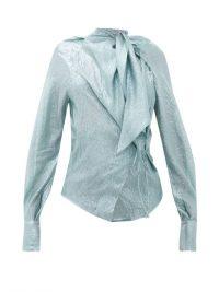 PETAR PETROV Betsey tie-neck silk-blend lamé blouse in blue ~ metallic blouses