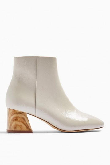 TOPSHOP BIRCH Taupe Block Boots ~ wood effect heels