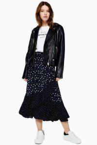 TOPSHOP Black And White Spot Wrap Midi Skirt in Monochrome