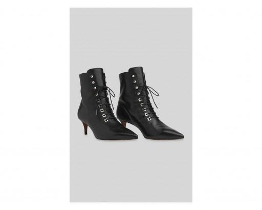 WHISTLES Celeste Kitten Heel Boot in black ~ point toe lace-up boots