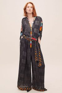 Bl-nk Arel Checked Jumpsuit Dark Grey / wide leg, ruched sleeve jumpsuits