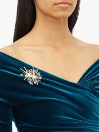 ERDEM Bloom crystal-embellished double-pearl brooch – faux pearls and multicoloured crystals