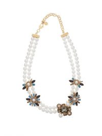 ERDEM Bloom crystal-embellished faux pearl necklace – statement necklaces with coloured crystals