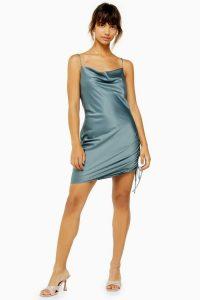 TOPSHOP Blue Ruched Mini Slip Dress