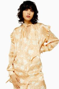 TOPSHOP Boutique Blur Floral Blouse in Peach / romantic frill trimmed fashion
