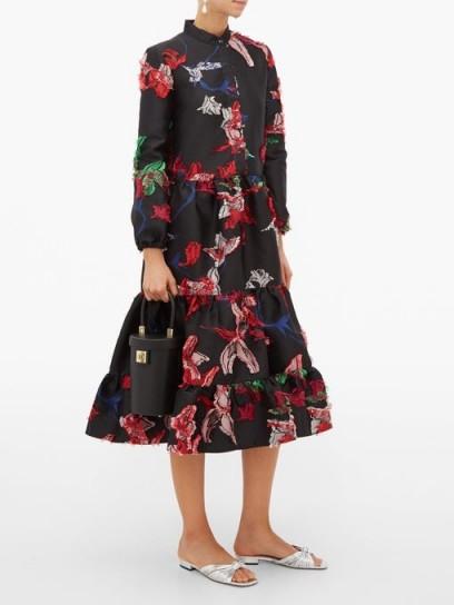 LA DOUBLEJ Boho tiered floral fil-coupé midi dress in black