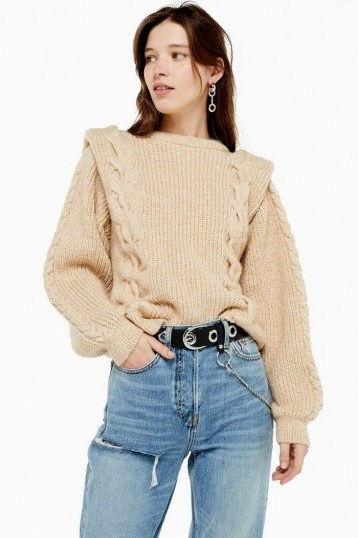 Topshop Bold Shoulder Cable Knit Jumper in Oatmeal   80s style knitwear - flipped