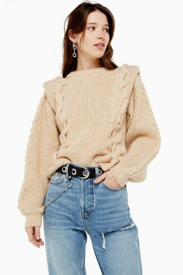 Topshop Bold Shoulder Cable Knit Jumper in Oatmeal   80s style knitwear