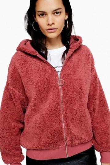 Topshop Borg Zip Hoodie Pink | fluffy hoodies - flipped