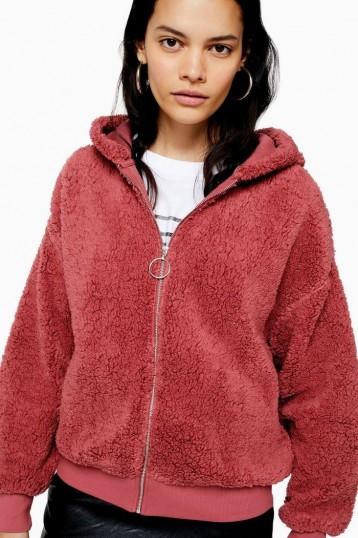 Topshop Borg Zip Hoodie Pink   fluffy hoodies