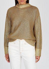 BOSS Fivian gold cotton-blend jumper ~ luxe style sweater