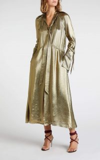 ROLAND MOURET BRANDON DRESS in Gold ~ metallic dresses ~ fluid fabrics