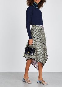 BRØGGER Una checked wool-blend midi skirt / multi check print skirts