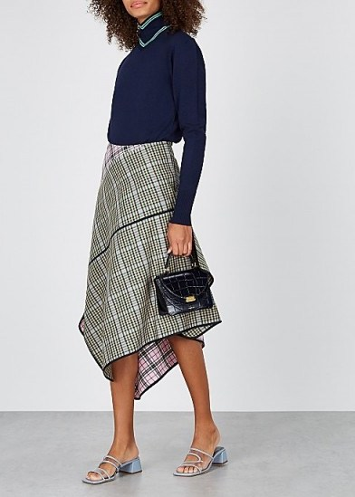 BRØGGER Una checked wool-blend midi skirt / multi check print skirts - flipped