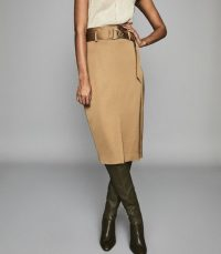 REISS BRYN SATIN BELTED MIDI SKIRT GOLD ~ luxe pencil skirts