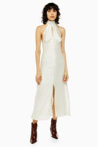 Topshop Burnout Halter Neck Dress in Ivory