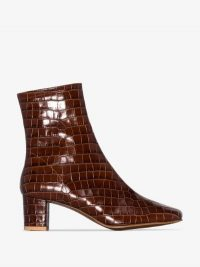 BY FAR Brown Sofia 63 Mock Croc Leather Ankle Boots