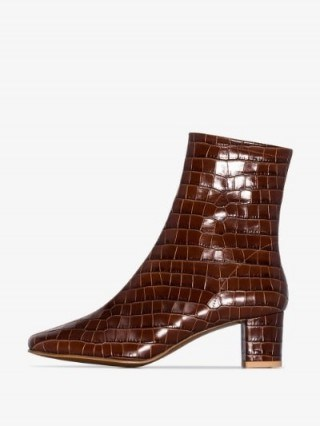 BY FAR Brown Sofia 63 Mock Croc Leather Ankle Boots - flipped