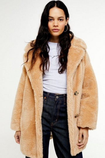 TOPSHOP Camel Soft Borg Coat / light-brown faux fur coats