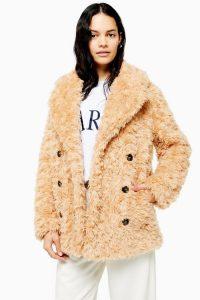 TOPSHOP Camel Textured Borg Coat / shaggy coats